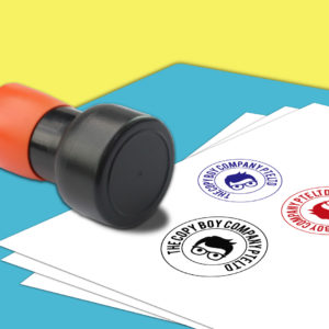 Rubber Stamp with Red, Blue and Black Ink